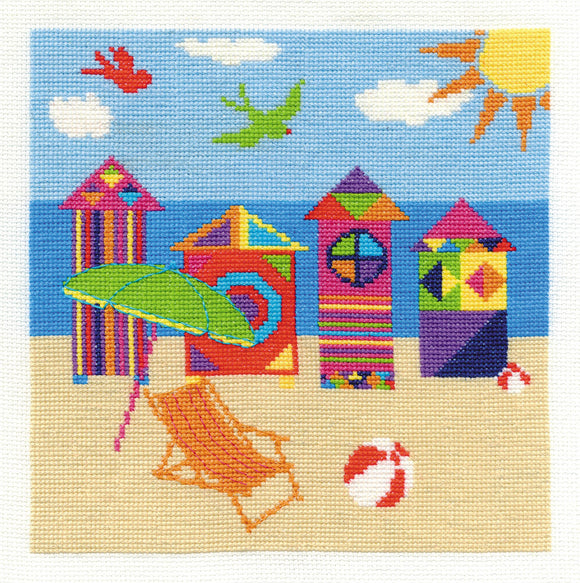 DMC Cross Stitch Kit - By The Seaside - Bright Beach Huts