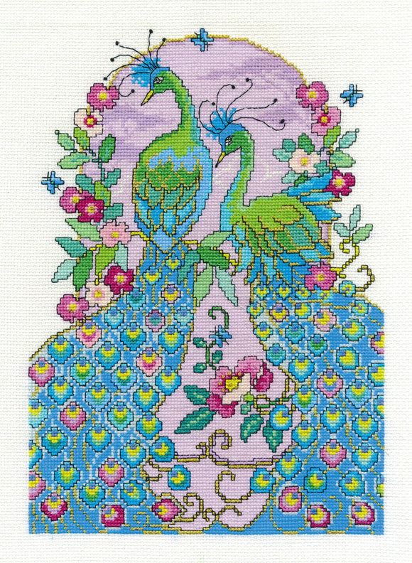 DMC Cross Stitch Kit - Oriental Delight - Peacocks
