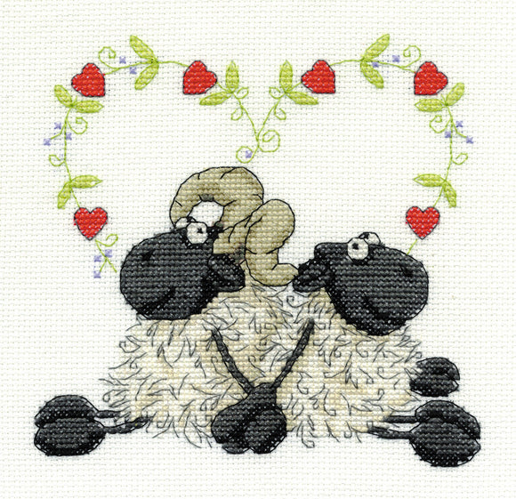 DMC Cross Stitch Kit - Shabby Sheep - Love You Too
