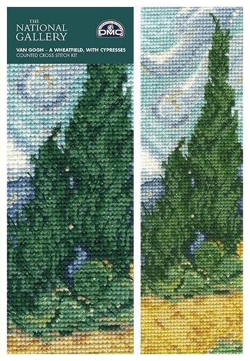 Van Gogh Wheatfield with Cypresses Book Mark Cross Stitch Kit from DMC