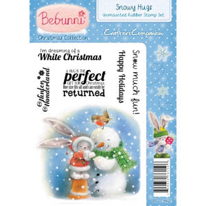 Crafter's Companion Bebunni Christmas A6 Unmounted Rubber Stamp - Snowy Hugs