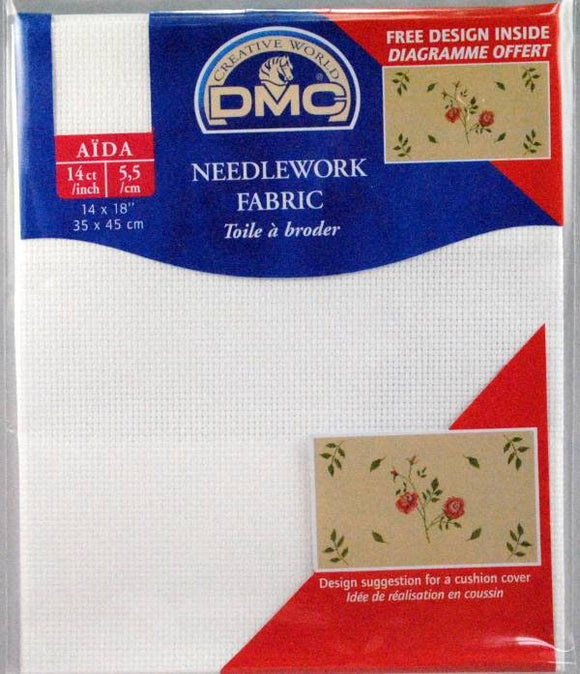 DMC Needlework Fabric - White - 14 count Aida - 14 x 18