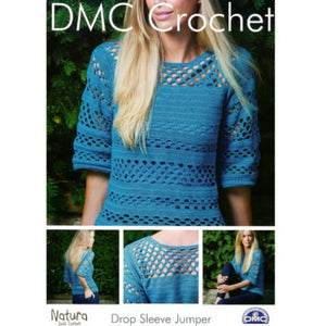 Ladies Drop Sleeve Jumper - DMC Crochet Pattern