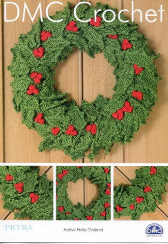 Festive Holly Garland Crochet Pattern - DMC Crochet