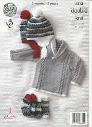 Baby Jacket, Sweater, Hat & Socks Knitting Pattern - King Cole 4213