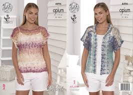 Ladies T shirt and Cardigan Crochet Pattern - King Cole 4496
