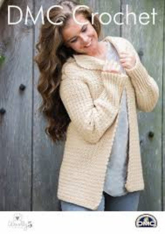 Ladies Slouchy Sunday Jacket - DMC Crochet Pattern