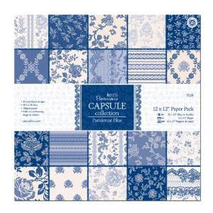 Papermania 12 x 12-inch Capsule Paper, Pack of 32, Parisienne Blue