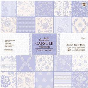 Papermania 12 x 12-inch Capsule Paper, Pack of 32, French Lavender