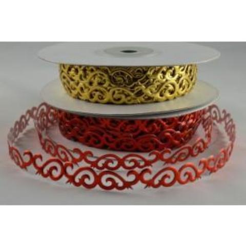 Metallic Cut Swirl Ribbon - 10mm Wide