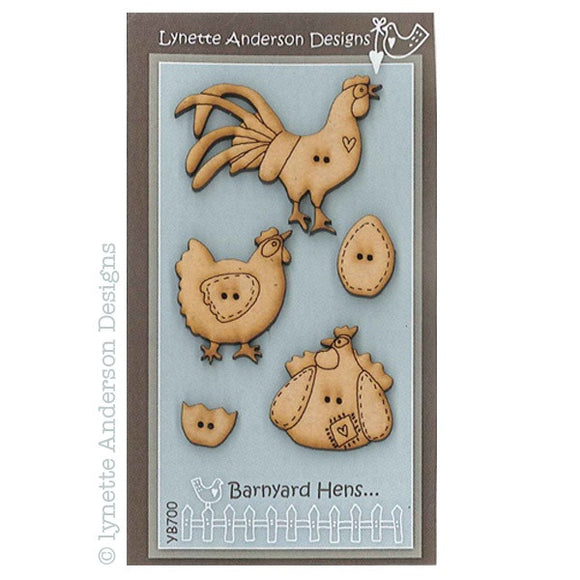 Lynette Anderson Designs - Raw Wooden Buttons - Barnyard Hens