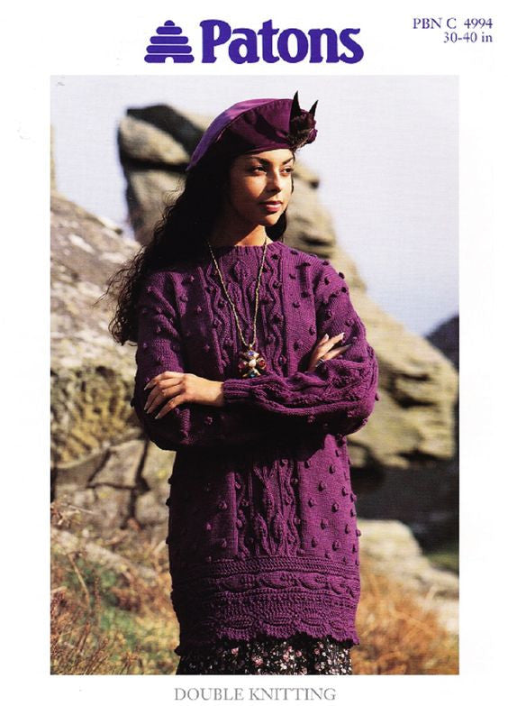 Ladies Leaf and Bobble Tunic/Sweater Knitting Pattern - Patons 4994