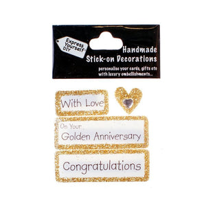 Handmade Stick-On Decoration – Golden Anniversary