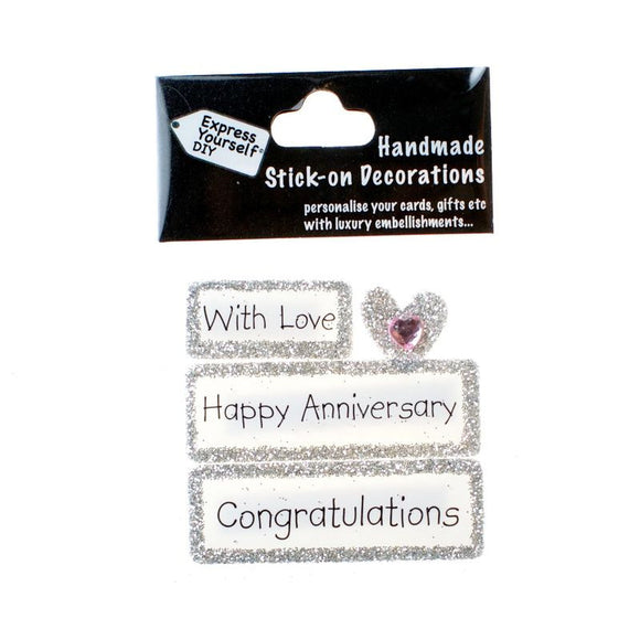 Handmade Stick-On Decoration – Happy Anniversary