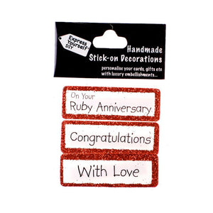 Handmade Stick-On Decoration – Ruby Anniversary