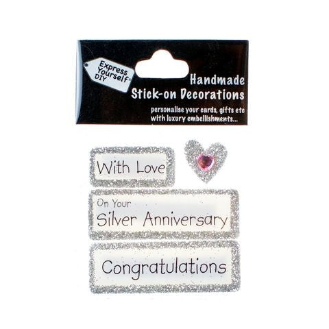 Handmade Stick-On Decoration – Silver Anniversary
