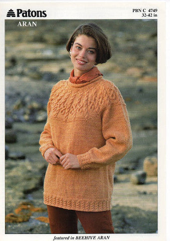 Ladies Aran Cable Sweater Knitting Pattern - Patons 4749