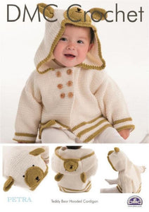 Baby's Teddy Bear Hooded Cardigan - DMC Crochet Pattern