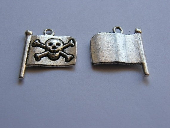 Silver Tone Jolly Roger Pirate Flag Charm