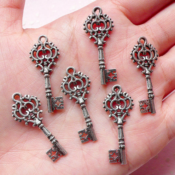 Tibetan Silver Key Charm - 31mm long