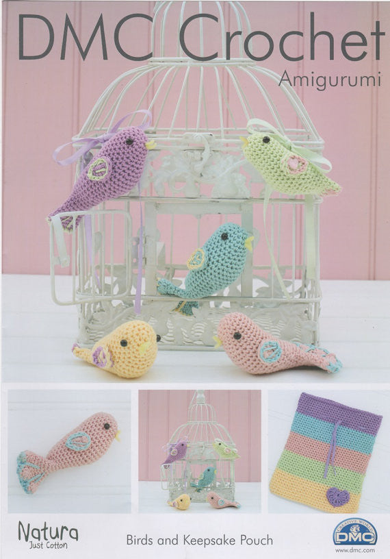 Birds and Keepsake Pouch - DMC Crochet Amigurumi Pattern