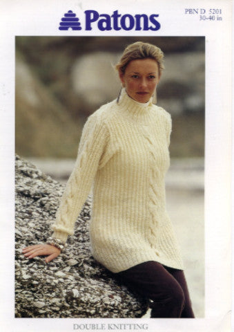 Ladies High Neck Cabled Sweater Knitting Pattern - Patons 5201