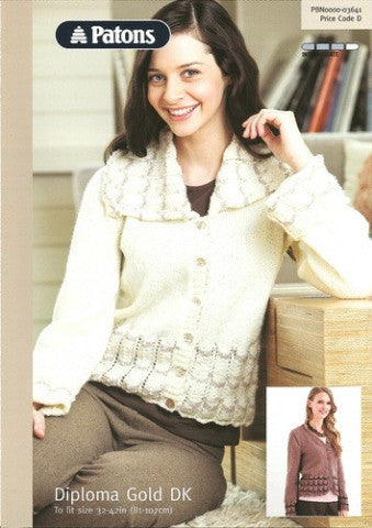 Ladies Cardigan Knitting Pattern - Patons 3641
