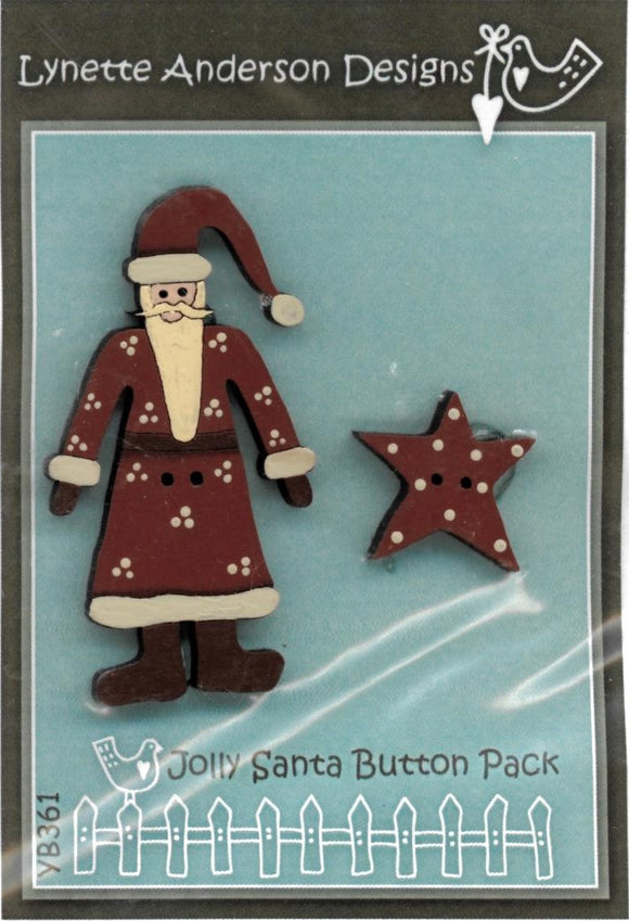 Lynette Anderson Jolly Santa Hand Painted Buttons