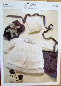 Teddy Knitting Pattern 7115 - 4 Ply Matinee Set