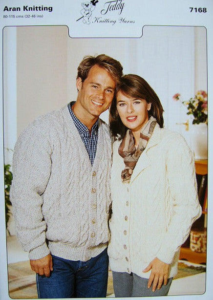 Teddy Knitting Pattern 7168 - Aran His Cardigan & Her Jacket