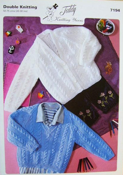 Teddy Knitting Pattern 7194 - Children's DK Cabled Sweaters & Cardigan