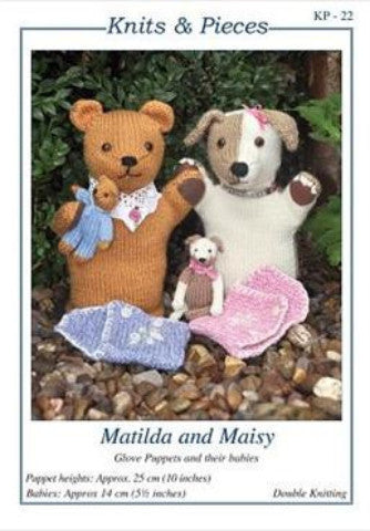 KP-22 Matilda and Maisy Glove Puppets and Their Babies Knitting Pattern