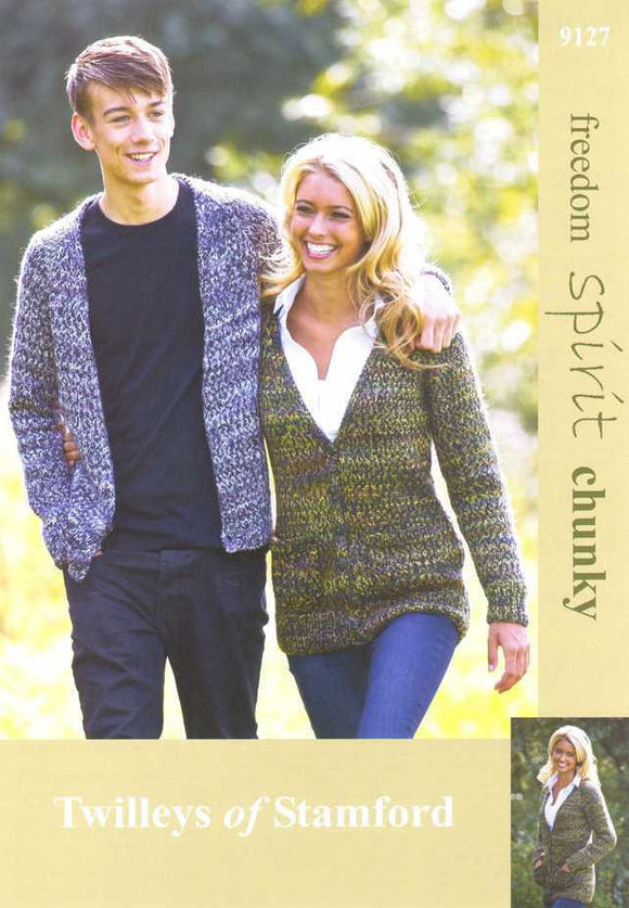 Knitted His and Hers V Neck Chunky Cardigans - Twilleys of Stamford 9127