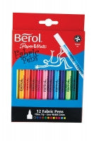 BEROL COLOUR FABRIC PEN WALLET OF 12