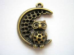 Antique Bronze Owl in the Moon Charm
