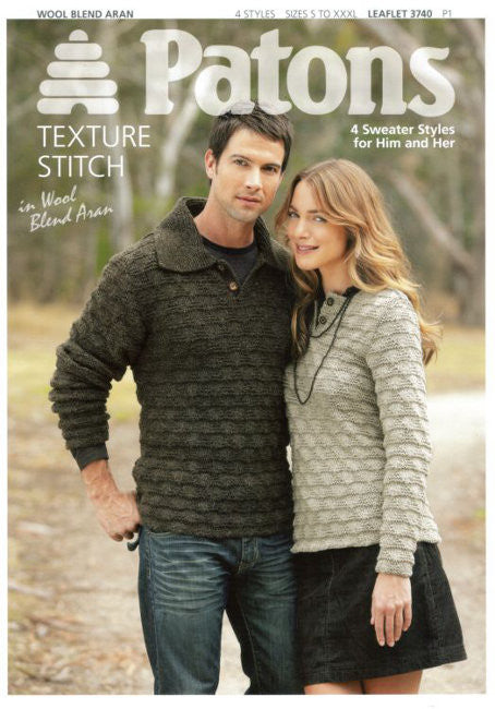 His and Hers Aran Sweaters - Patons 3740