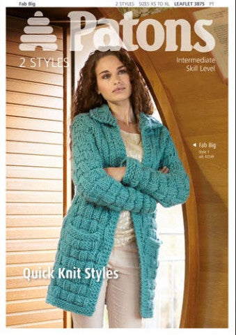 Ladies' Super Chunky Quick Knit Styles Knitting Pattern - Patons 3875