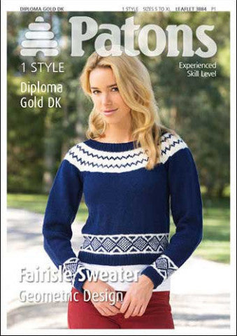 Ladies Circular Yoke Sweater with Geometric Design Knitting Pattern - Patons 3884