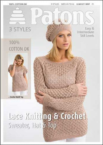 Ladies Lace Knitting and Crochet Sweater, Hat and Top Pattern - Patons 3897