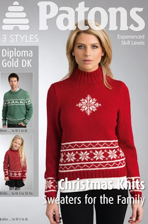 Family Christmas Jumpers Knitting Pattern - Patons 3921