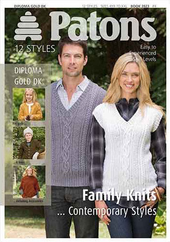 79551c3357 Contemporary Styles Family Knits Pattern Book - Patons 3923