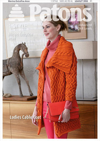 Women's Cable Coat Knitting Pattern - Patons 3950