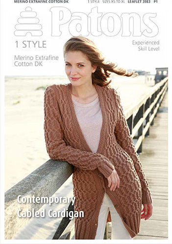 Ladies' Contemporary Cabled Cardigan Knitting Pattern - Patons 3983