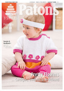 Babies and Toddlers Sweater, Cardigan and Headband Knitting Pattern - Patons 4000