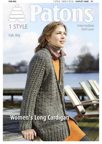 Ladies' Long Cardigan - Patons 4040