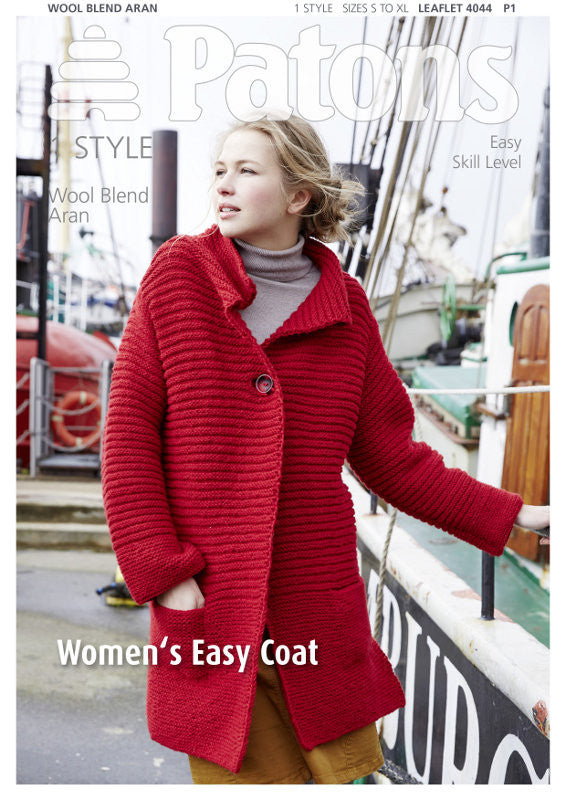 Women's Easy Coat Knitting Pattern - Patons 4044