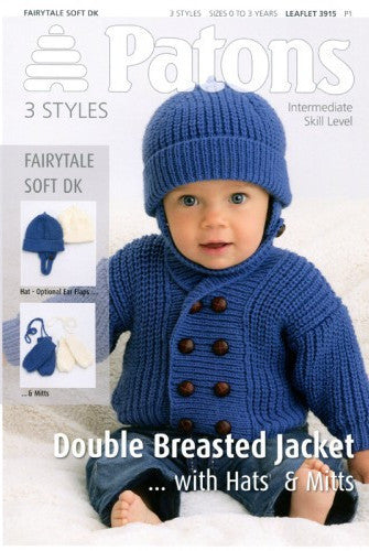 Double Breasted Baby/Toddler Jacket with Hat and Mitts Knitting Pattern - Patons 3915