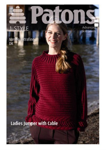 Ladies Jumper with Cable Knitting Pattern - Patons 3945