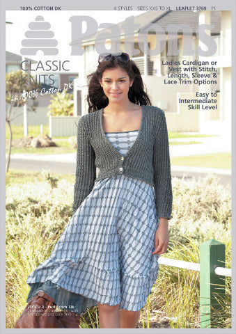 Ladies Vest and Cardigan Knitting Pattern - Patons 3769