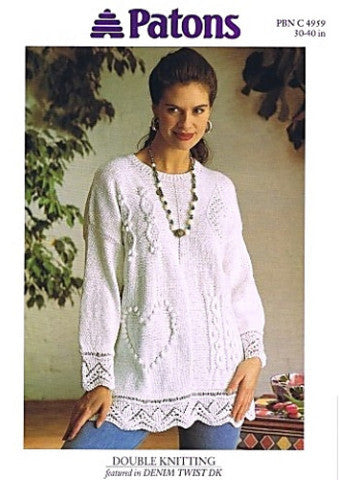 Ladies Cable Tunic/Sweater Knitting Pattern - Patons 4959